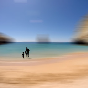 The master...and the begginer by Sergio Martins - Digital Art People ( water, decor, sand, algarve, beach, photo art )