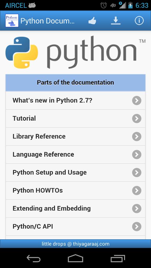 Python Docum... Python Apps