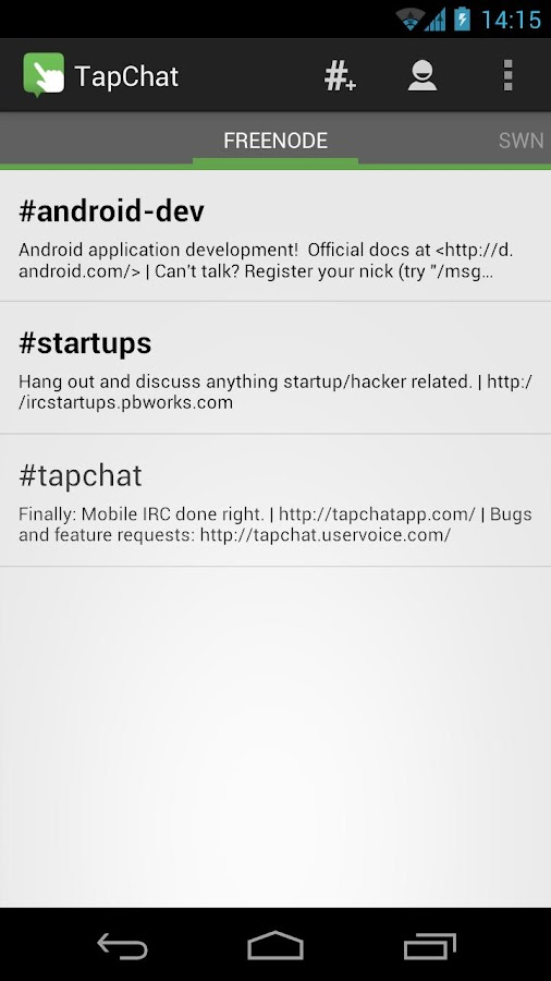 TapChat IRC Client - screenshot