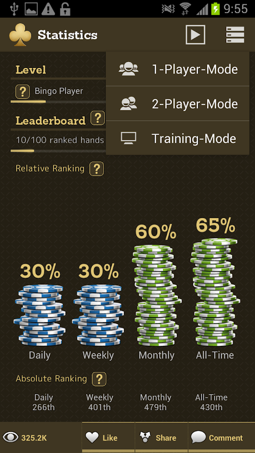 Open Face Chinese Poker - screenshot