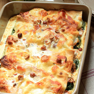 Spinach, Goat Cheese and Bacon Lasagna