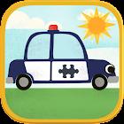 儿童汽车游戏:趣味卡通飞机,警车,救火车,和汽车高清拼图 icon