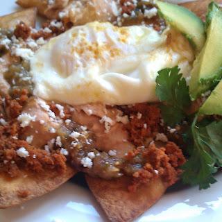 Breakfast Sunshine Platter (Chilaqueles with tomatillo sauce).