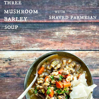 Mushroom Barley Soup with Shaved Parmesan