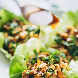 Peanut Chicken Lettuce Wraps with Ginger Garlic Sauce.