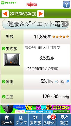 スマホ歩数計(富士通製HCE搭載端末版)