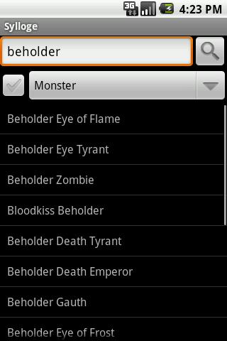 Sylloge D&D Compendium Search- screenshot