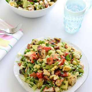 BBQ Chicken Chopped Salad with Grilled Garlic Croutons.
