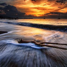 I Stay To Watch You Fade Away by Kadek Jaya - Landscapes Sunsets & Sunrises ( sky, sunset, wave, slow, motion )