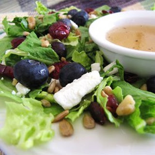 Deliciously Sweet Salad with Maple, Nuts, Seeds, Blueberries, and Goat Cheese.