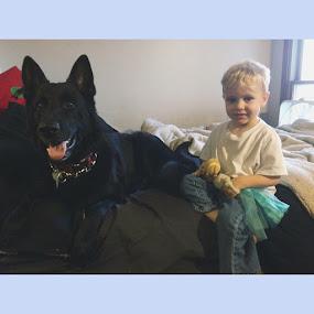 Torque Lee & Kohen Gregory!  by Paige Elizabeth - Animals - Dogs Portraits ( kohen gregory torque lee german shepard dog black child baby anna elsa doggy big amazing love boys kids )