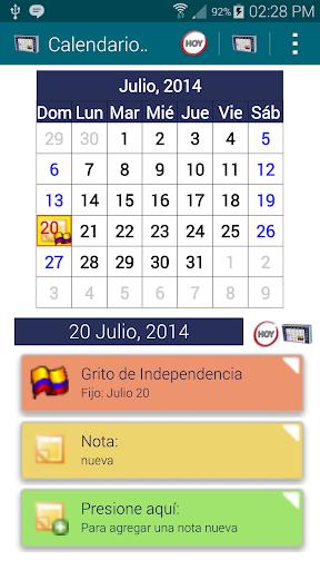 Calendario Festivos Colombia