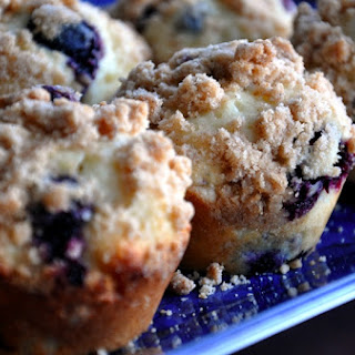 Blueberry Bell Muffins with Streusel Topping.