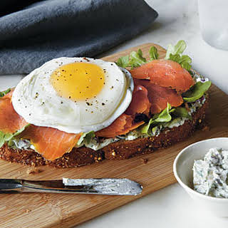 Smoked Salmon and Egg Sandwich.