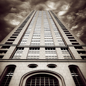Dark Times by Winterlyn Stebner - Buildings & Architecture Office Buildings & Hotels ( clouds, signs, black and white, artsy, buildings, architecture )