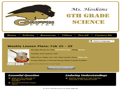 Ms Hoskins 6th Grade Science - screenshot thumbnail