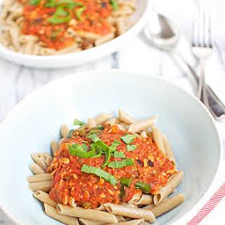 Puttanesca Pasta with Salmon.