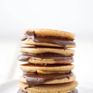 Chocolate Sun Butter Pancake Sandwiches.