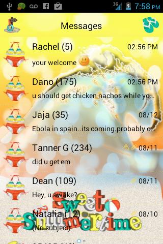 Sweet Summer GO SMS PRO THEME