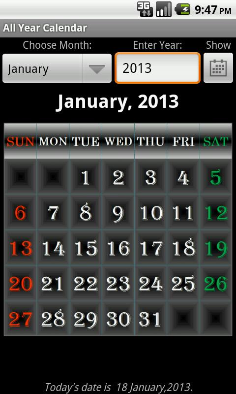 Year Calendar App : All year calendar android apps on google play