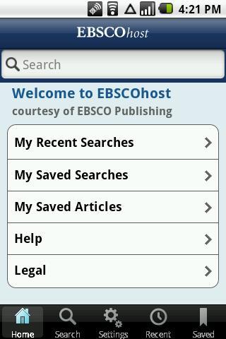 EBSCOhost – snimka zaslona