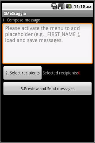 SMeSsaggia bulk customized SMS - screenshot