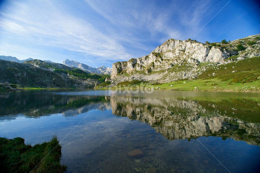 Picos Lake  by Benjamin Arthur - Landscapes Mountains & Hills ( reflection, picos, mountain, asturias, benjiearthur, lake, benjaminarthur.com, spain )