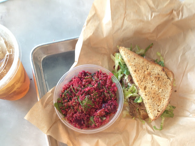 Steak BLT with Beet & Quinoa salad. Yummm!!