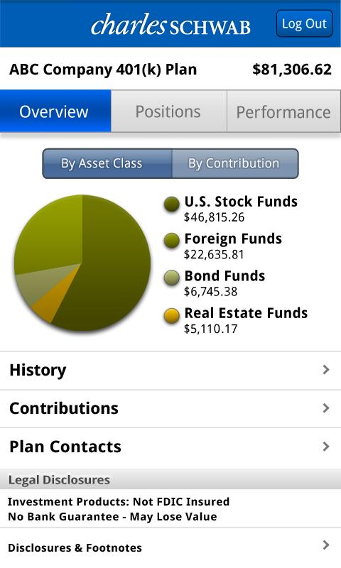Schwab Workplace Retirement - screenshot