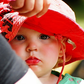 The Stare by Chris KIELY - Babies & Children Child Portraits ( emm, girl, grandaughter, camping, gorgeous, beautiful, red-lips, little, young, portrait,  )