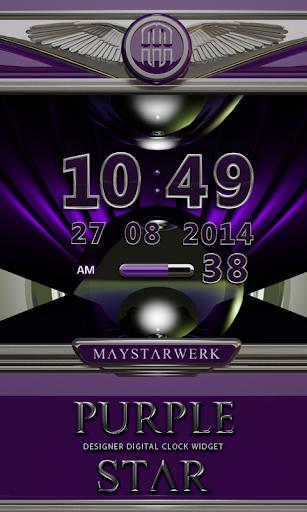Digi Clock Widget Purple Star