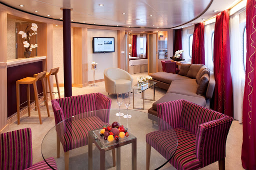 The Owners Suites on board Seabourn Sojourn are spacious, with a separate bedroom, a private and guest bathroom, dining for four, a full wet bar, and a full length window and door that opens onto the private veranda. This suite also offers complimentary wi-fi.