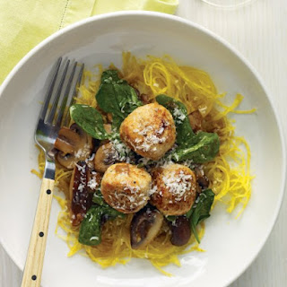 Spaghetti Squash with Turkey Meatballs.
