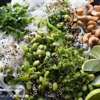 Rice Noodles with Edamame and Cashews.