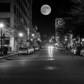 quixotic by Yu Tsumura - Black & White Street & Candid ( indiana, moon, quixotic, 2014, supermoon2014, usa, united states, city, unreal, west lafayette, midnight, night photography, full moon, night, long exposure, supermoon, outside, september,  )
