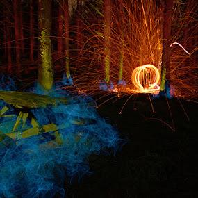 Backbarrow LP - 20-02-14 - wool orb by Mark Airey - Abstract Light Painting ( light painting, night photography, bench, steel wool, orb, backbarrow, d7000, long exposure, nikon, woods )