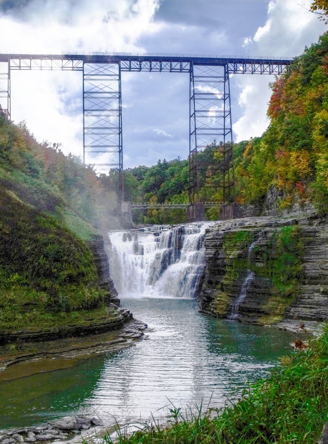 Upper Falls & Trestle by Cynthia Potter Nichols - Landscapes Waterscapes ( train trestle, waterscape, landscape, letchworth state park, upper falls,  )