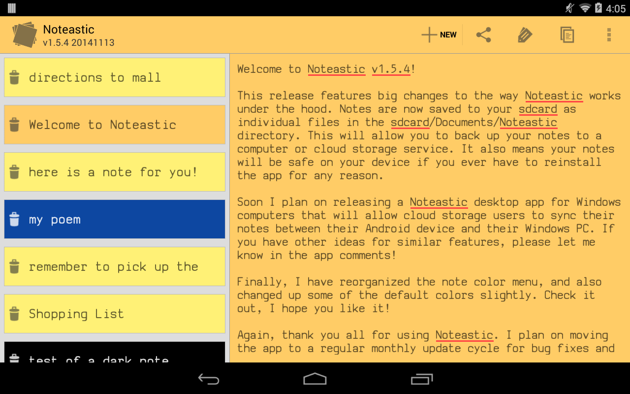 Noteastic Notepad- screenshot