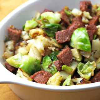 Sausage, Cauliflower and Brussels Sprout Hash.