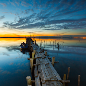 Apocalypse Now by João Freire - Landscapes Sunsets & Sunrises ( water, nature, sunset, carrasqueira, reflections, landscape, portugal, boat, river, , bridge )