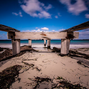 by Tracey Macnish - Landscapes Beaches ( socity6, old, beach, jetty, castle town, esperance )