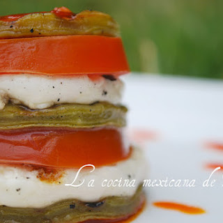 Cheese and Nopal Stack with Chili Vinaigrette.