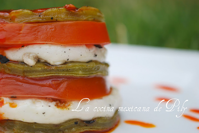 Cheese and Nopal Stack with Chili Vinaigrette Recipe