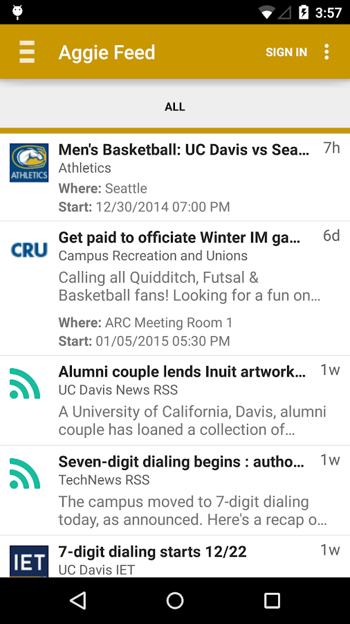 UC Davis Mobile- screenshot