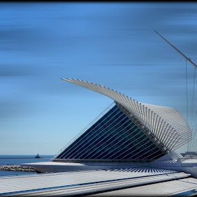 Wings by Dawn Marie - Buildings & Architecture Architectural Detail ( water, clouds, milwaukee, wisconsin, sky, blue, wings, art, lake, museum )