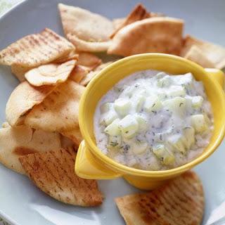 Pita Crisps With Cucumber Dip.