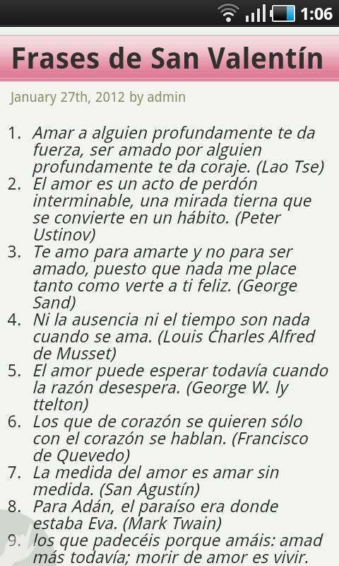 Frases de Amor San Valentín - screenshot