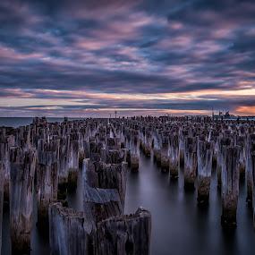 Windy sunset at Princes Pier, Melbourne by Zubair Aslam - Landscapes Waterscapes ( port, port melbourne, melbourne, sunset, princes pier, pier, long exposure,  )