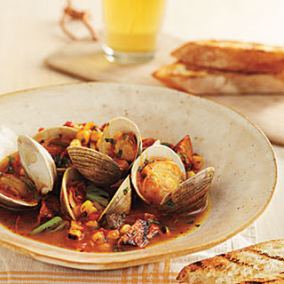 Grill-Braised Clams and Chorizo in Tomato-Saffron Broth