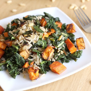 Wild Rice And Kale Salad With Smoky Sweet Potatoes.